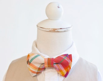 Bow Tie, Fuchsia, Orange, Teal Organic Madras Plaid, Bow Ties, Boys Bow Ties, Baby Bow Ties, Bowtie, Bowties, Ring Bearer, Bow ties For Boys