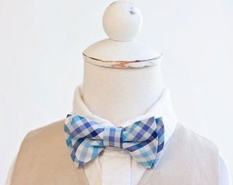 Bow Tie, Bow Ties, Bowties, Boys Bow Ties, Baby Bow Ties, Bowties, Ring Bearer, Bow ties For Boys - Navy, Aqua, Purple Organic Madras Plaid