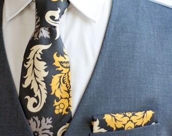 Necktie, Neckties, Mens Necktie, Neck Tie, Mens Necktie, Groomsmen Necktie, Ties, Wedding Neckties, Grey And Yellow Ties - Granite Damask