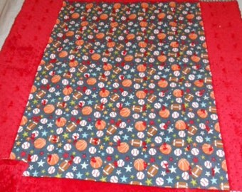 Sports Red and Navy Flannel and Cuddle Soft Baby Crib Quilt