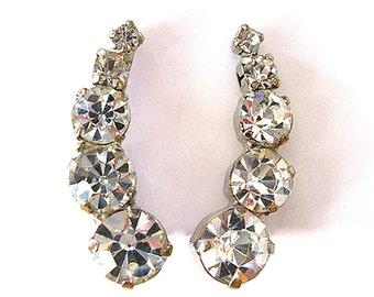 Vintage Rhinestone Earrings Screw On Formal Earrings