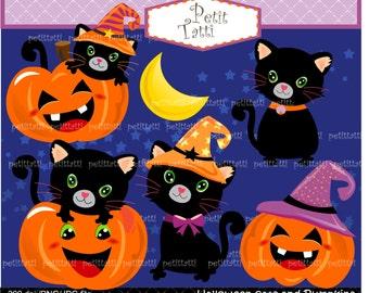 ON SALE Halloween Cat Pumpkins Clip Art - Pumpkins Cat Clip Art, halloween cat clip art, scrapbooking, printable