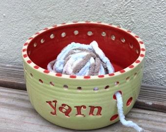 Yarn Bowl. Colorful. Yarn. Wool. Knitting. Crochet. Skein. Knitting Bowl. Yarn Holder. Handmade. Ceramic. Unique. Bigdogpots. Green.