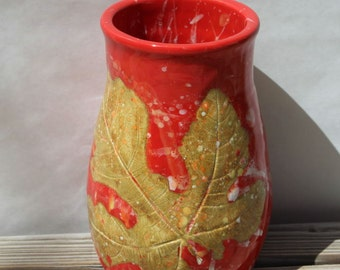Vase. Vases. Home Decor. Wedding Gift. Housewarming Gift. Red. Leaf. Fall.  Gifts for the Couple. Big Dog Pots Pottery. Fall Wedding. Gift.