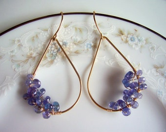 Tanzanite and gold wire wrapped hoop earrings, tanzanite jewelry, tanzanite earrings