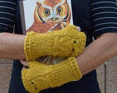 Owl gloves arm warmers yellow mustard Fall Autumn gift for her owls fingerless gloves