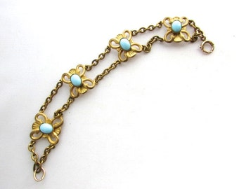 Etruscan Revival Turquoise Cabochon Bracelet Vintage Antique Link Gilt Metal Art Nouveau Robins Egg Blue Spring Jewelry