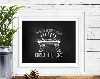 Manger Nativity Christmas Chalkboard Printable Art - Instant Download 8x10