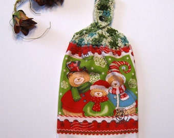 Snow Bears, Hanging Towel, Kitchen supplies, Hostess Gift, Handmade by NormasTreasures