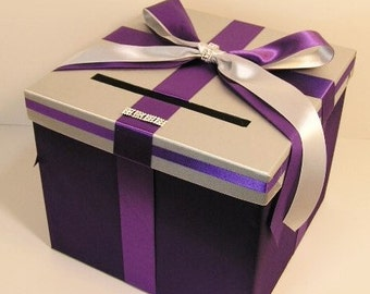 Wedding Card Box Silver and  purple Gift Card Box Holder--Customize your color