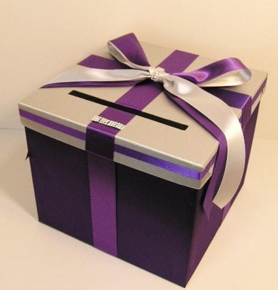 Wedding Card Box Silver and purple Gift Card Box