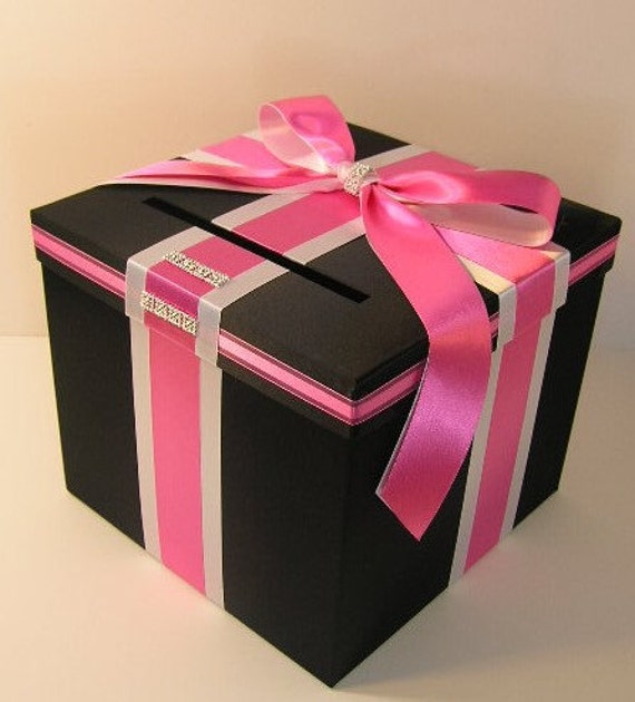 Wedding Card Box Black and Hot pink Gift Card Box Money Box Holder--Customize your color (10x10x9)