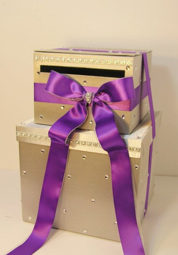 Large Wedding Gift Card Box : Wedding Card Box LARGE Size 2 Tier Silver and Bright Purple Gift Card ...