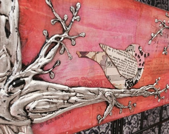 Bird Artwork - Bird on a Branch, Mixed Media Collage