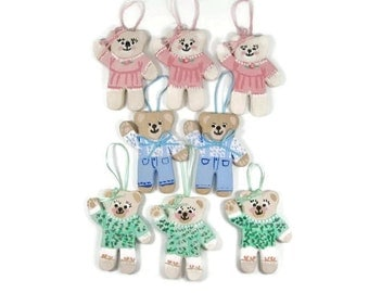 Teddy Bear Christmas Ornament Gift Tag Place Cards .. Set of 8 Baby Nursery Decor