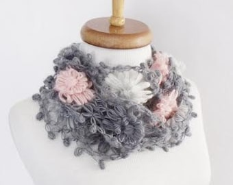 Gloria Crochet Scarf-Gray Pink-Ready for shipping