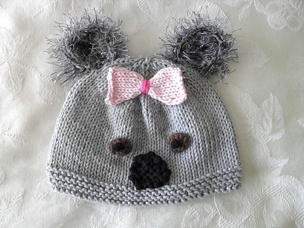 Baby Hats Knitting Knit Baby Hat Hand Knitted Koala Bear Baby