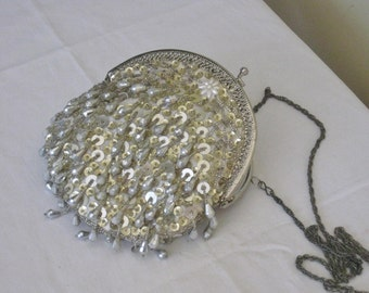 Vintage Beaded Purse with Long Chain Strap, White and Silver Beads and Sequins, Off White Satin Interior with Pocket