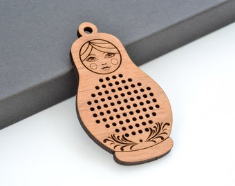 "2.75"" Matryoshka Cross Stitch Pendants 69mm x 39mm Laser Cut from Alder Wood Embroidery Russian Nesting Dolls EHPRD-69-A"