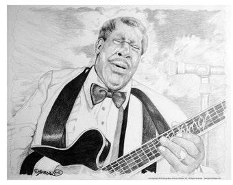"King Of Blues - Pencil Illustration, 11""x17"" Art Print By Gmoss"