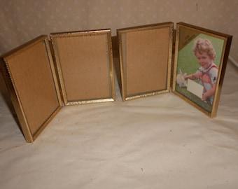 Bi Fold Gold Tone Picture Frames 3 1/2 x 5, glass set of 2