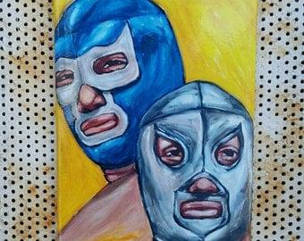 Art magnet - chicano art - el santo - blue demon - lucha libre - mexican art - home decor