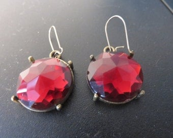Weird little vintage red earrings with mirrors on the back  new gold filled kidney wires