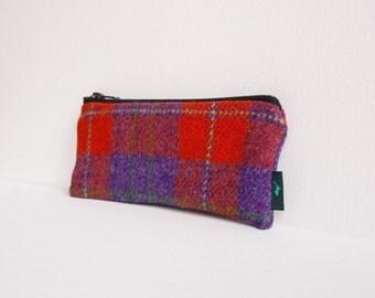 Harris Tweed pencil case in red and purple tartan