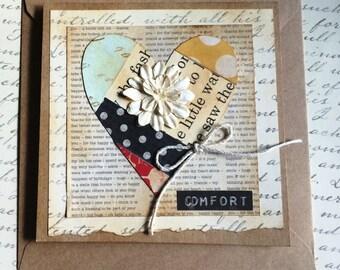 Comfort Themed Handmade Patchwork Heart Greeting Card