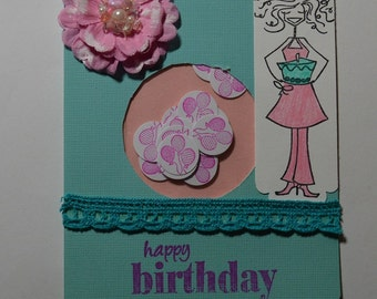 Pink & Turquoise Birthday Shaker Card