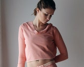 cropped hoody in cotton french terry - WAFFY loungerie and loungewear range - made to order