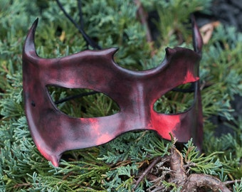 Horned Leather Mask Black and Red