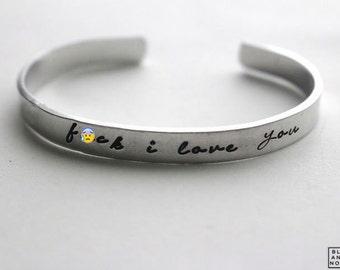 F-ck I love You Bracelet in Silver -Custom Word Bracelet Bangle Handstamped Engraved - Personalized Bracelet