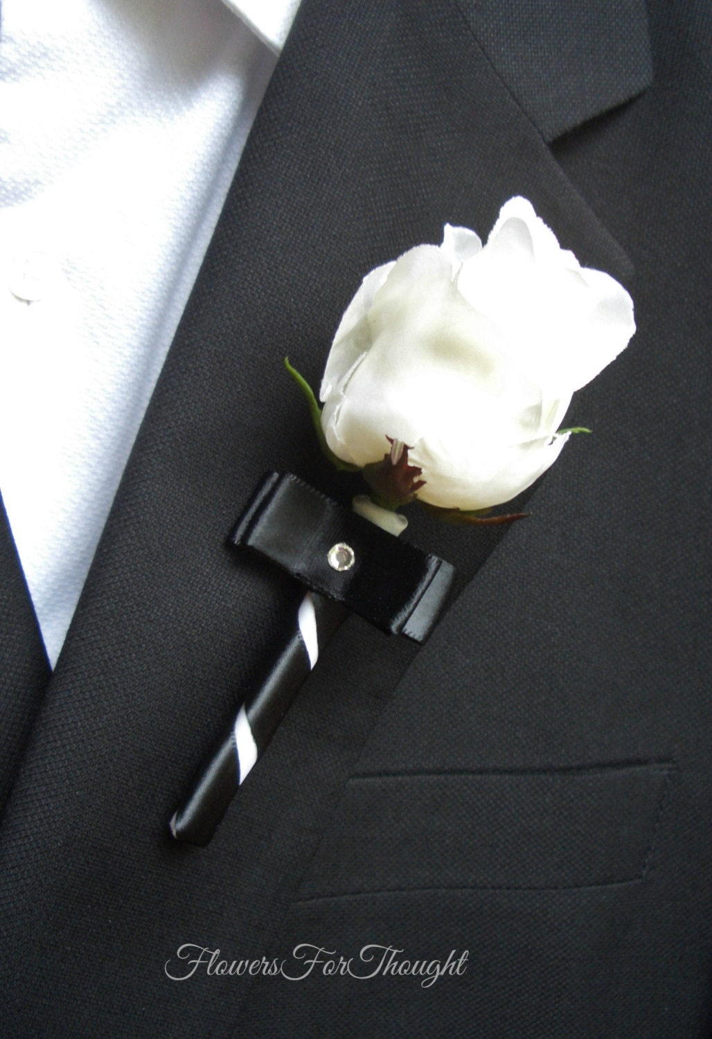 White rose boutonniere with black ribbon groomsmen lapel zoom dhlflorist Choice Image