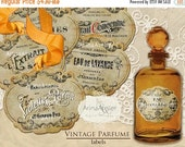 30% OFF SALE Vintage Parfume LABELS - Digital Printables - collage sheet - collage tags - vintage images - french parfume tags - gift tags -