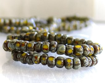 6/0 Three-Cut Striped Yellow Picasso Czech Beads 6-Inch Strand Glass Seed Beads