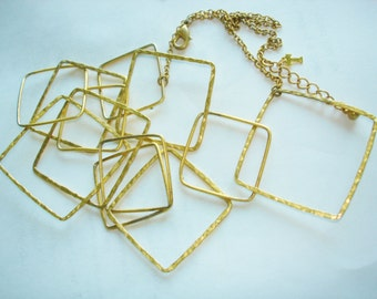 Chain Link Square Necklace  Gold Tone Signed Trifari