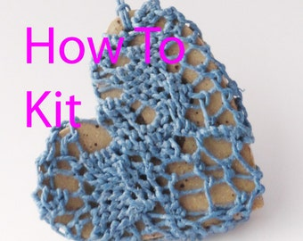 DIY Fiber Arts Kit, How-To Lacy Heart Necklace, Textile Weaving, Woven Jewelry, DIY, Valentine, Victorian, Looping Knotless Netting