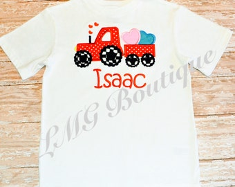 Boys Valentines day Shirt Truck Applique Shirt / Love truck with name / baby one piece / Embroidered Shirt or Bodysuit