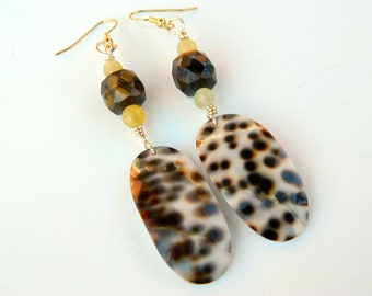 Long Spotted Shell Fashion Dangle Earrings with Tiger's Eye and Yellow Calcite Beads