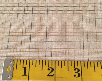6+ yards of woven linen suiting light tan with green and orange variegated threads