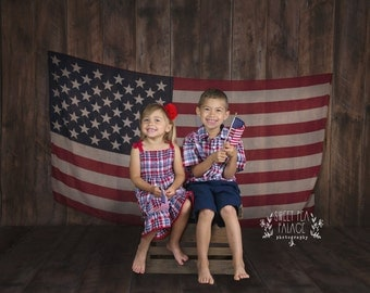 Instant Download Photography Prop DIGITAL BACKDROP for Photographers - American Flag on Wood Wall