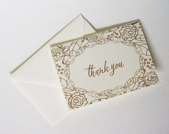 Floral Thank You Card, Thank You Card Set, Stationery Set, Boxed Stationery, Illustration, Flowers, Botanical, Calligraphy