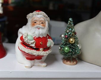 Santa Claus Bank Spaghetti Trim Figurine Inarco E-214 Japan VINTAGE by Plantdreaming