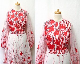 1960s / 70s Vintage Voile Dress / Red & White Abstract Floral Dress