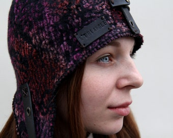 """Hand felted merino wool  hat  helmet fall spring fashion her - """"Fly by night"""""""