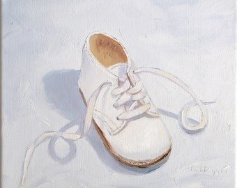 "Bottine.  Original oil on canvas painting. Yvonne Wagner. Baby Shoe. Shoe painting. Nursery art. 10 x 10 x 3/4"" (25.5 x 25.5 x 1.5 cm)"