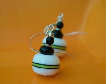 White Artisan Earrings, Lampwork Earrings, Stripe Earrings, Glass Earrings, Black Green Earrings, Art Deco Earrings