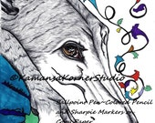 4 pgs Greyhound Sighthound Dog Coloring Page set with a Positive quote digital files