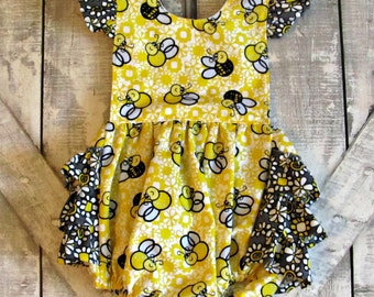 Baby Girls Ruffled Romper- Yellow Bumble Bees- Summer Romper- Bubble Romper- Toddler Girls Romper- Size 18 Months Ready To Ship